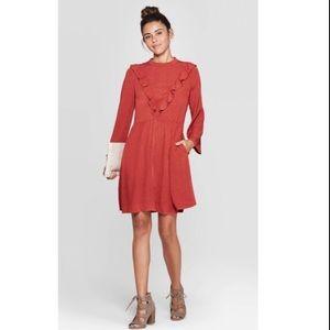 Long Sleeve Dress, in Orange Berry